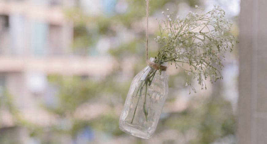 Flacon de cosmétique recyclé en vase